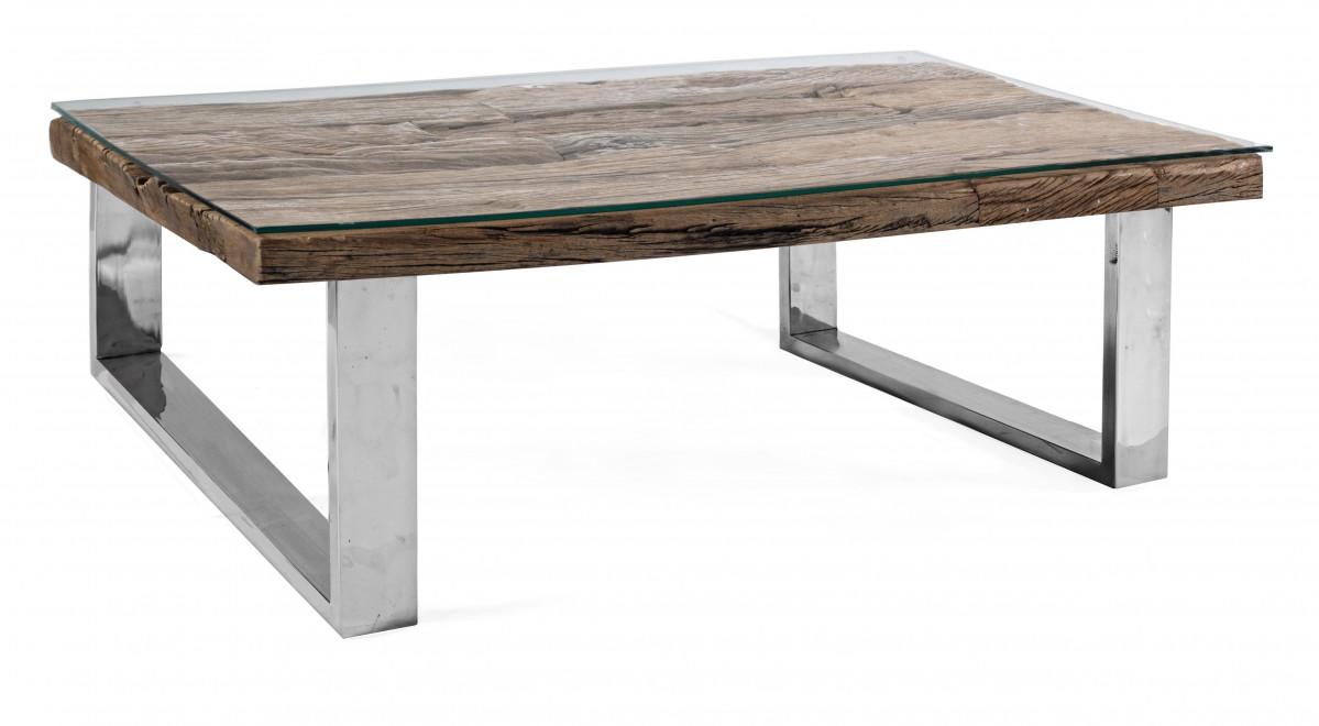 aniram table basse design bois recycle et metal