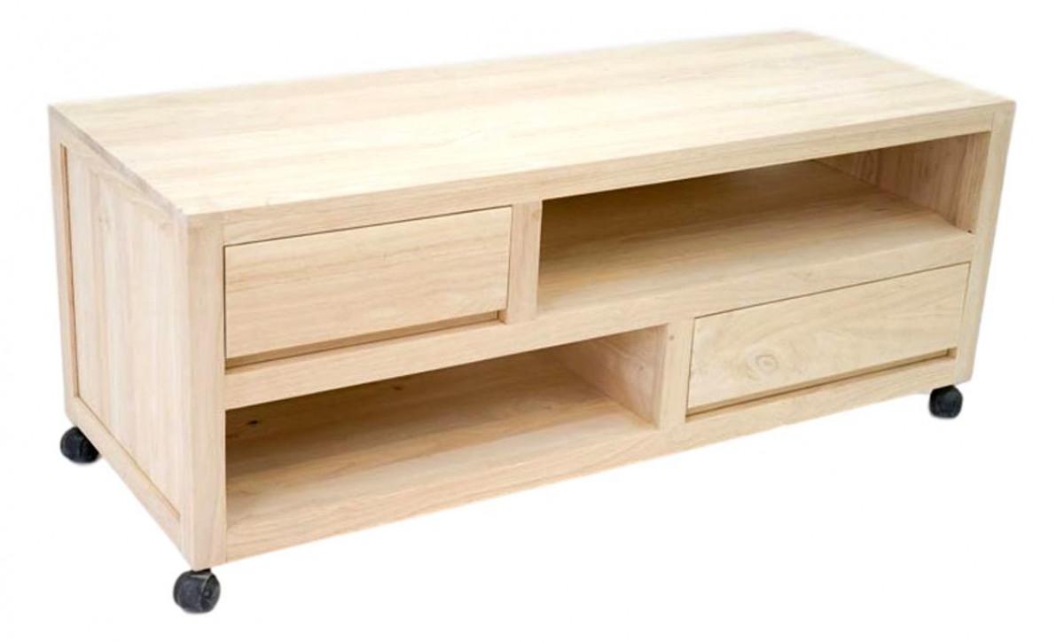 calveth grand meuble tele sur roulettes bois massif