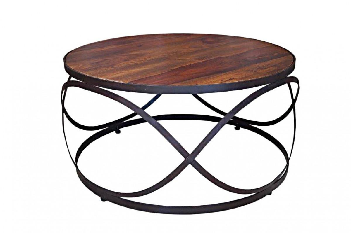 table basse ronde fer forge palissandre