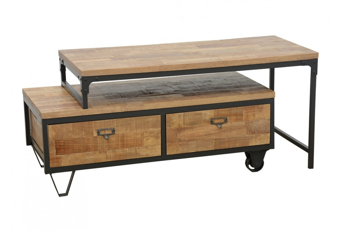 indus meuble tv extensible bois et metal
