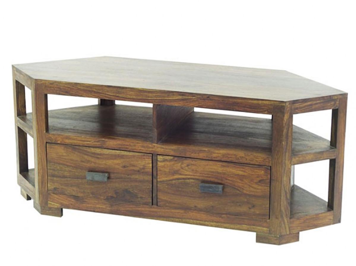 wakae meuble tele angle palissandre 2 tiroirs