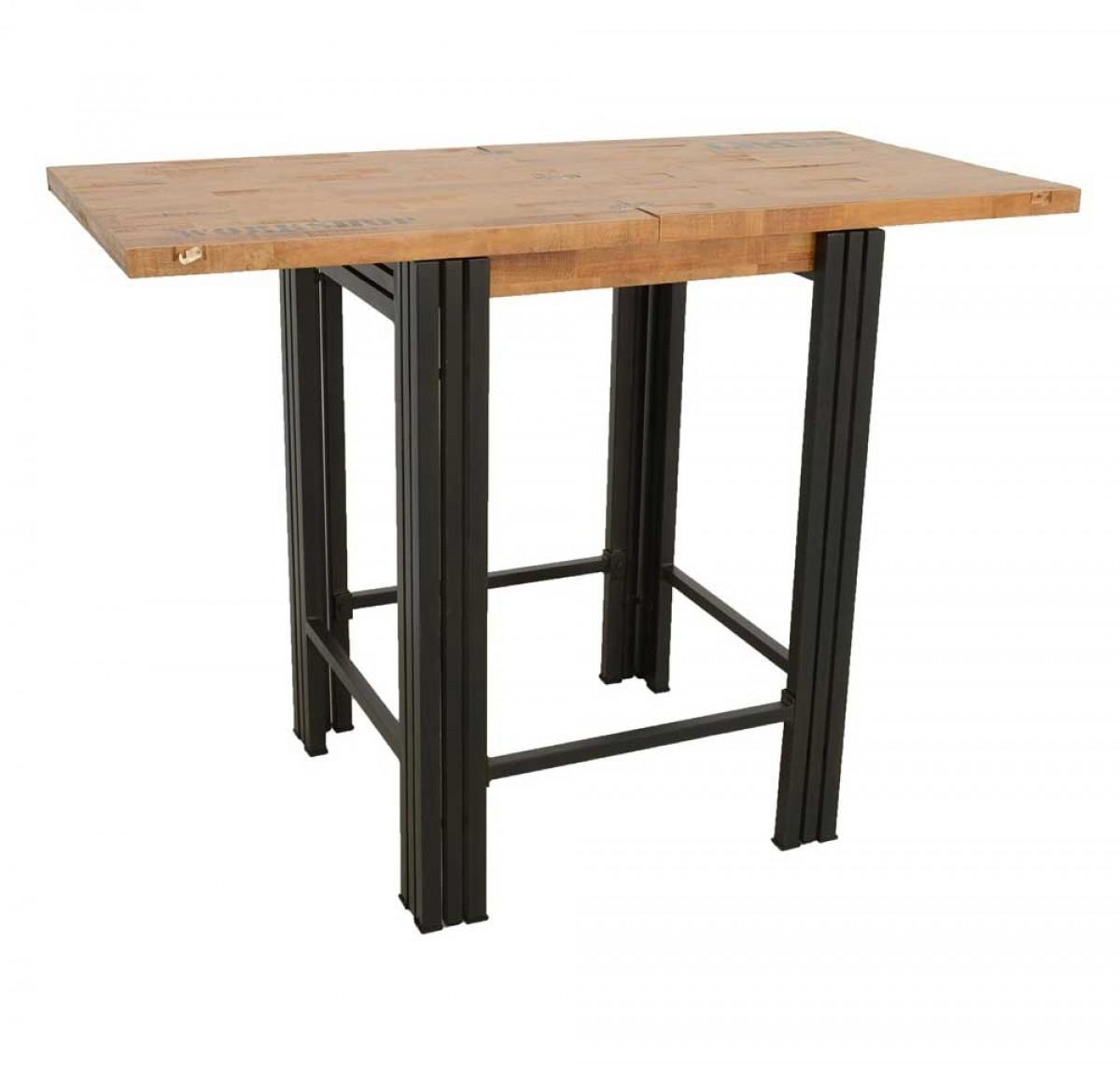 indus table de bar industrielle rallonge integree