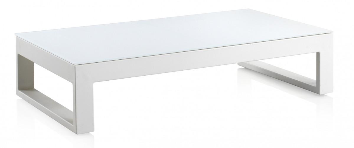 table basse design en metal avec plateau de verre opaque collection buenaventura