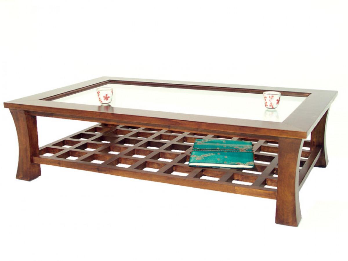 table basse rectangulaire bois massif avec plateau en verre jorg