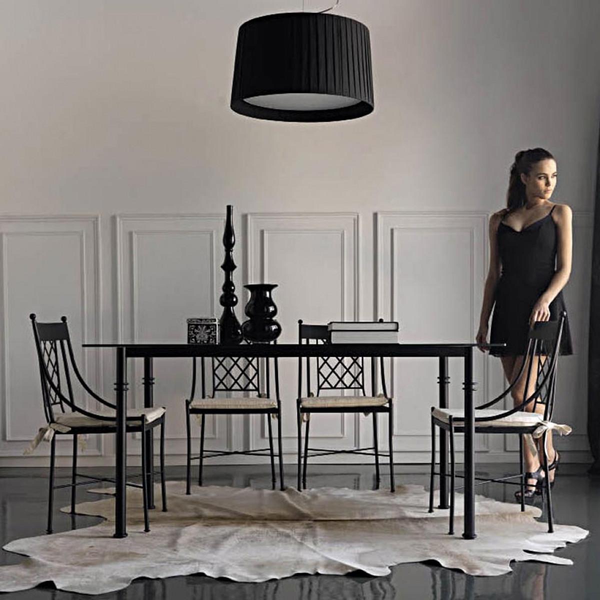 table rectangulaire fer forge avec plateau en verre artegnia