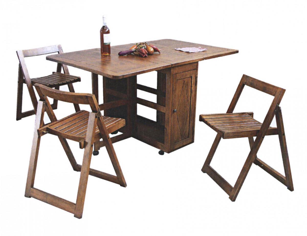 arster table pliable sur roulettes et 4 chaises pliantes couleur au choix