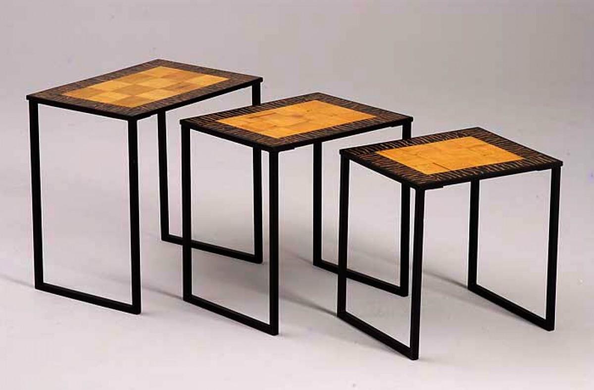 tables gigogne fer forge bambou