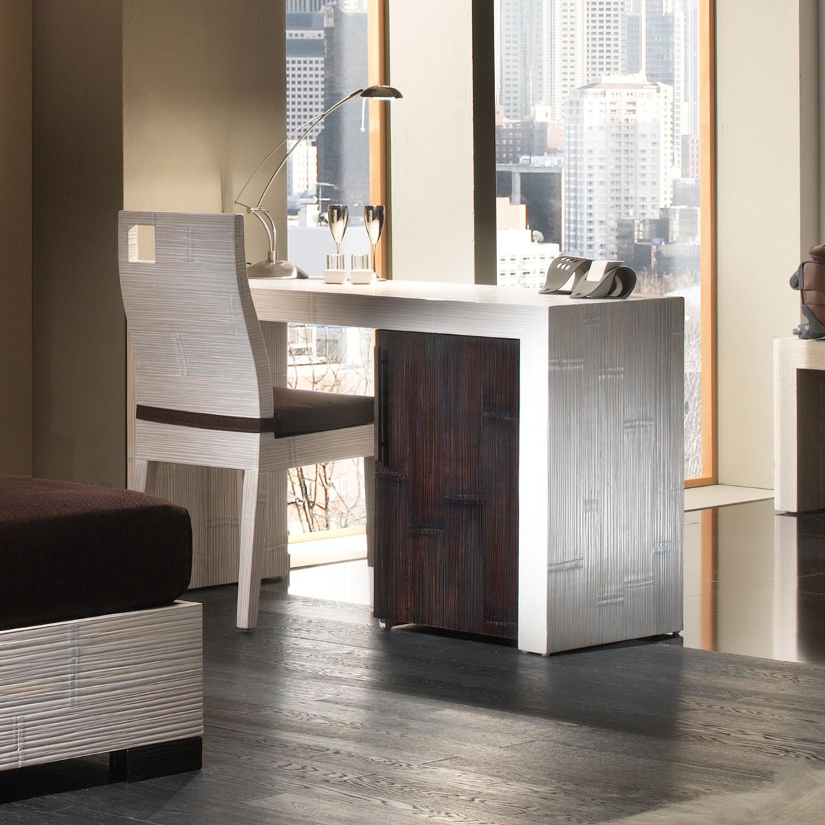 indah bureau 1 porte avec caisson blanc et wenge