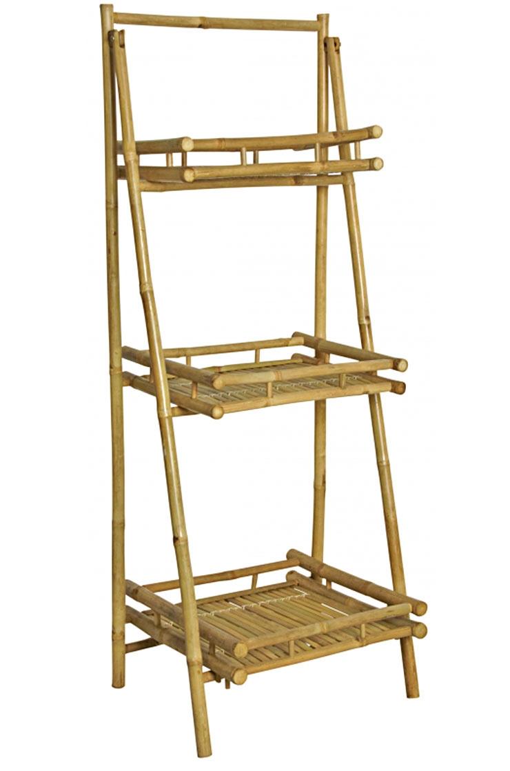 etagere presentoir bambou pliante