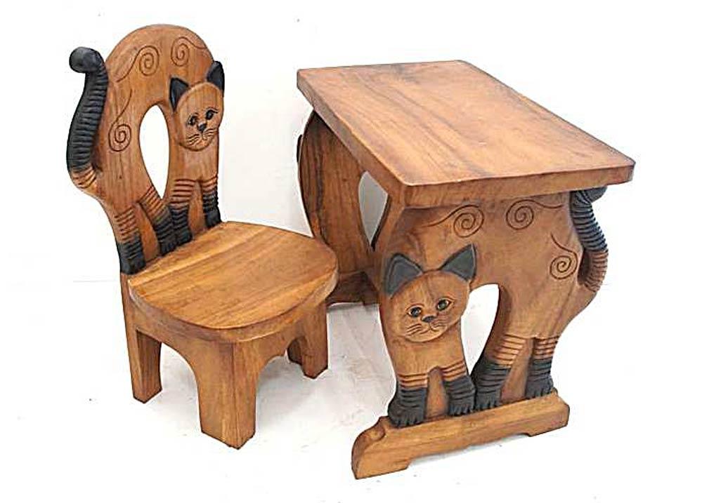 ensemble bureau et chaise pour enfant en bois massif sculptes chat image 1