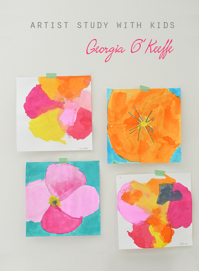 Children study Georgia O'Keeffe's large flower paintings by drawing first then painting with watercolors.