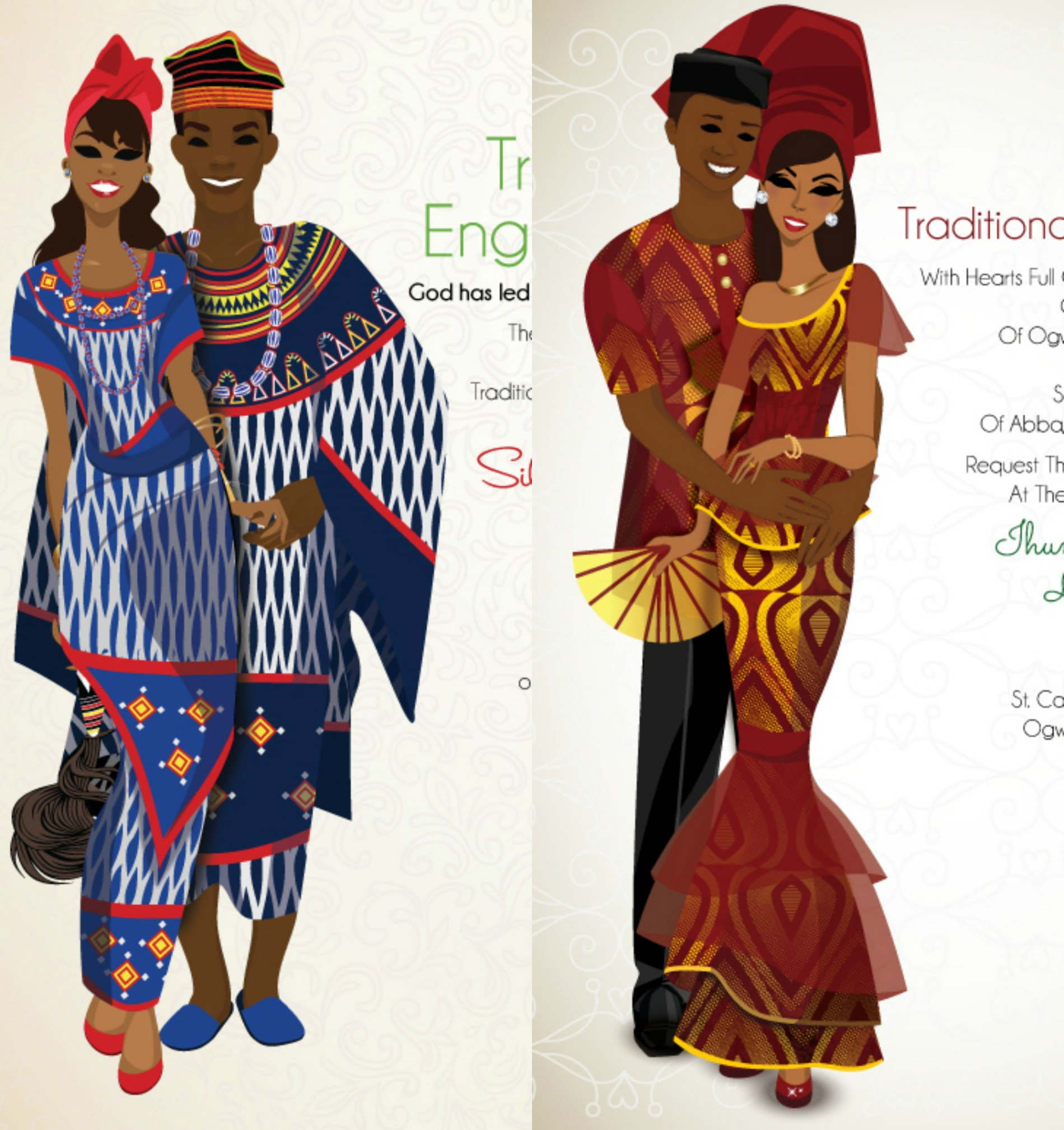 Cameroonian Traditional Wedding Invitation Cards