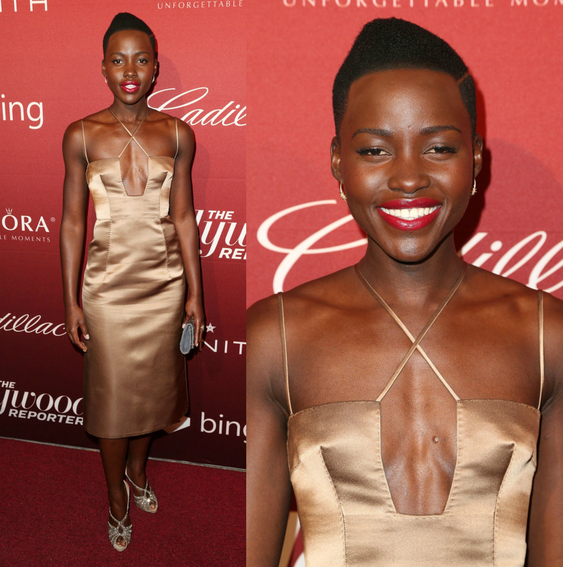 Lupita'a Nyongo'o in Valentino Fall 2013 Metallic Slip Dress At The Hollywood Reporter's Annual Nominees Night Party
