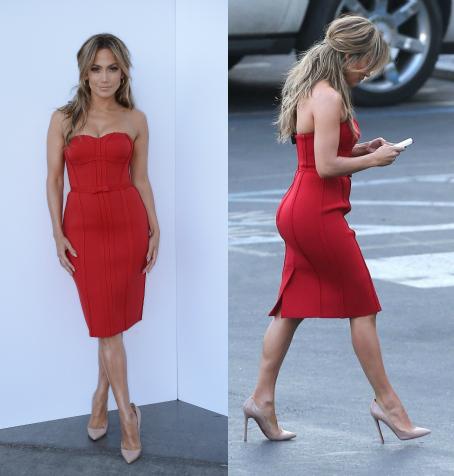 Jennifer Lopez In Lanvin Neoprene Strapless Corset Dress and Nude Patent Chritian Louboutin Pumps on American Idol