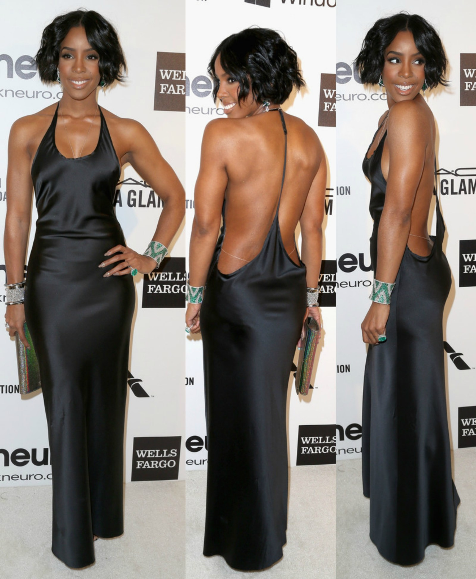 Kelly Rowland's Black Sultry Column Halter Dress at Elton John's Oscar Viewing Party