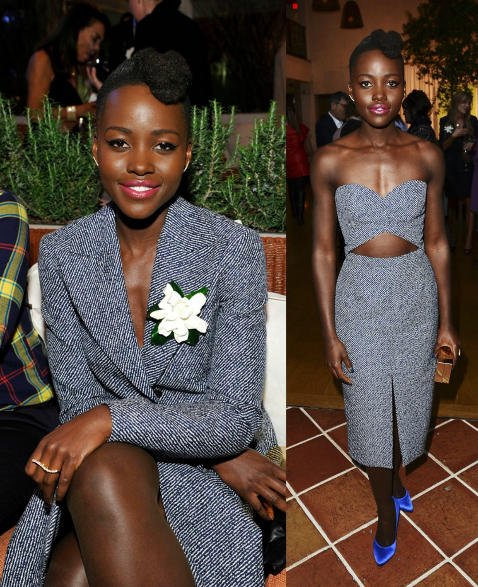 Lupita Nyong'o's Women In Film Pre-Oscar Cocktail Party Michael Kors Spring 2014 Cutout Dress And Pedro Garcia Rosette Satin Pumps