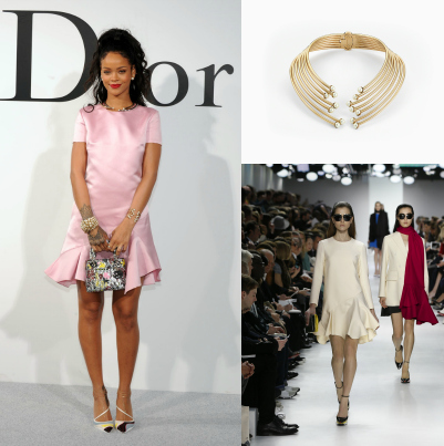 Hot or Meh:Rihanna's Blush Pink Dior Skater Dress And Diorific Necklace At The Dior Cruise Runway Show in Brooklyn