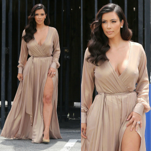 Get The Look: Kim Kardashian's Michael Costello Nude Metallic Chiffon Wrap Dress