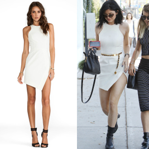 Get The Look: Kylie Jenner's Nicholas White Bonded Silk Wrap Skirt Dress