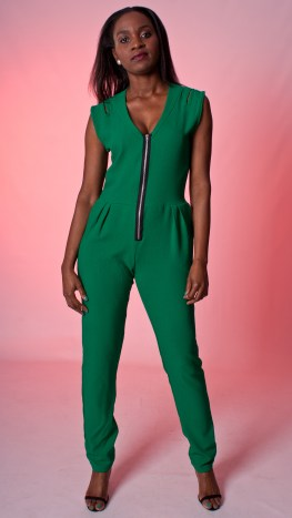 Green Cut Out Jumpsuit