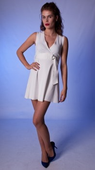White Buckle Neoprene Dress
