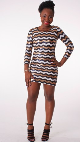 Chevron Tri-Tone Sequin Mini Dress