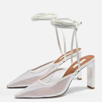 Topshop GRETA White Lace Up Mesh Mules, £56