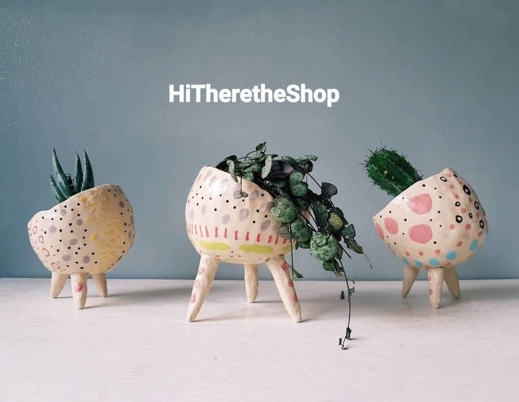 The Wonky Pot Collection - Handmade ceramic succulent pot, cactus pot, plant pot, home décor, garden decor. Outdoor planter. Pottery gifts.
