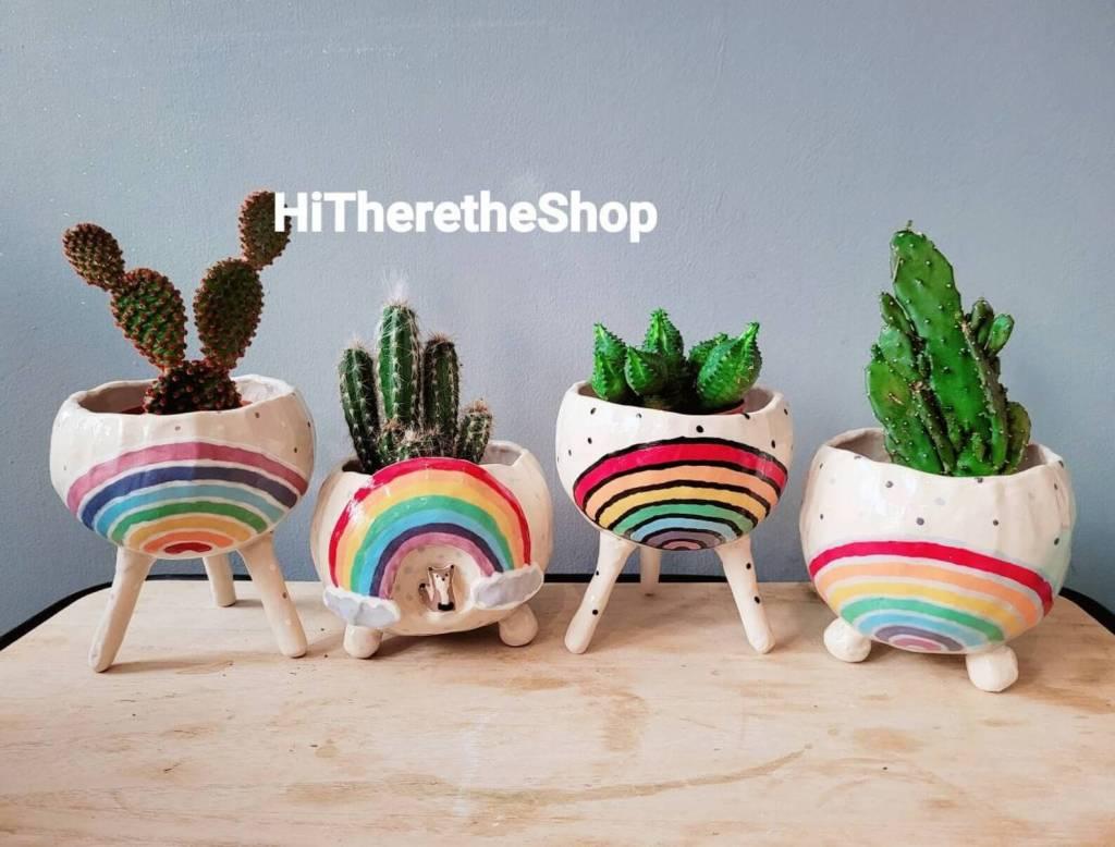 The Rainbow Pot Collection 2! Ceramic, handmade planter, succulent pot, cactus pot, planter, home studio, pottery gift, birthday gift ideas.