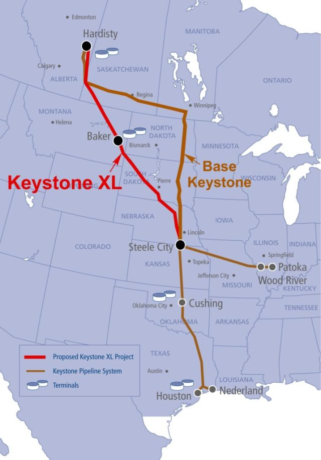 Keystone & Keystone XL Map 29 Jan 2017