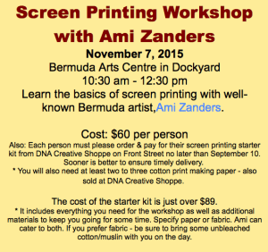 Screen printing workshop Bermuda Arts Centre at Dockyard