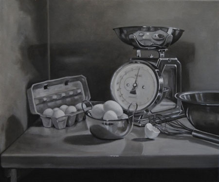 Alyson Champ, Omelette. Oil on linen.