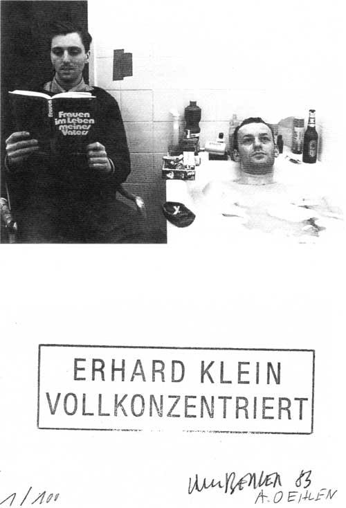 Albert Oehlen und Martin Kippenberger: ERHARD KLEIN VOLLKONZENTRIERT. EinladungsMultiple. 1983 © Estate Martin Kippenberger, Galerie Gisela Capitain, Cologne; Albert Oehlen, Zadik, Köln
