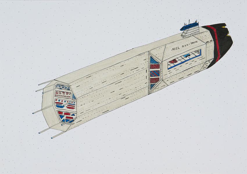"""Daniel Scislowski """"Die Nil N.R.R. 74656 fliegt mit einem solar betriebenen Antriebssystem. Crew: 2500 Typ: Erkundungsschiff Waffen: keine"""""""