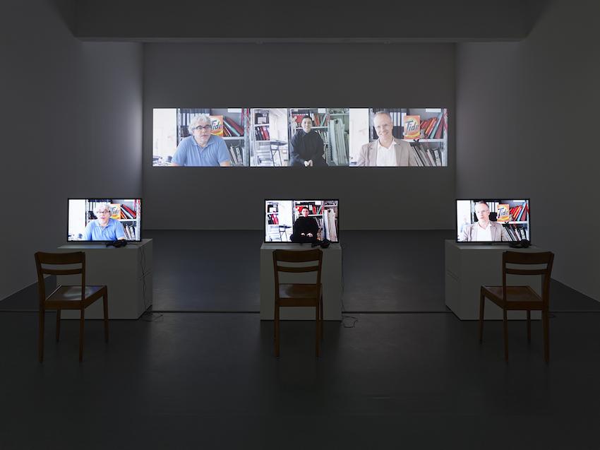 STURTEVANT, L'Abécédaire de Deleuze, First series, 2012, Sechskanal-Videoinstallation, 3 Monitore + 3 Wandprojektionen / 6-channel video installation, 3 monitors + 3 projections on wall , Monitor 1 : 66', Monitor 2 : 55', Monitor 3 : 65', Farbe, Ton / color, sound, Leihgabe der / on loan from Galerie Thaddaeus Ropac, Paris/Salzburg, Foto /photo: Simon Vogel