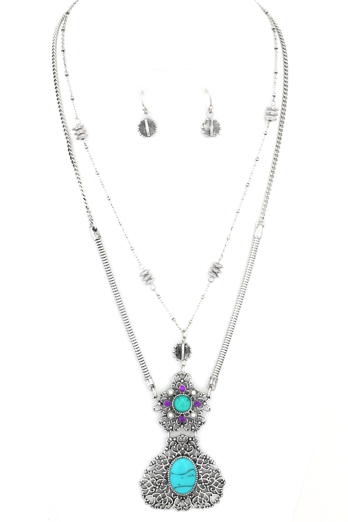 Double Layered Filigree Necklace Set