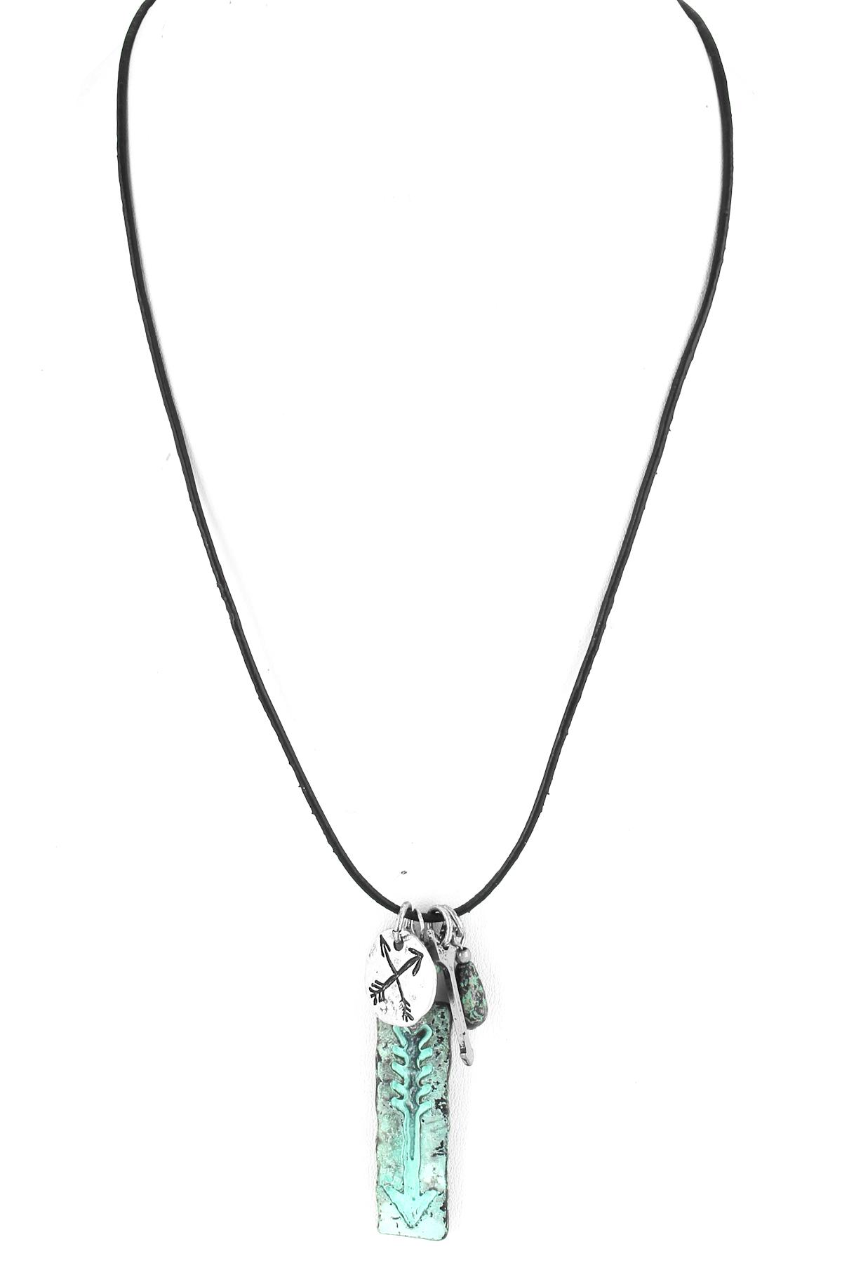 Arrow Pendant Wax Cord Necklace Set