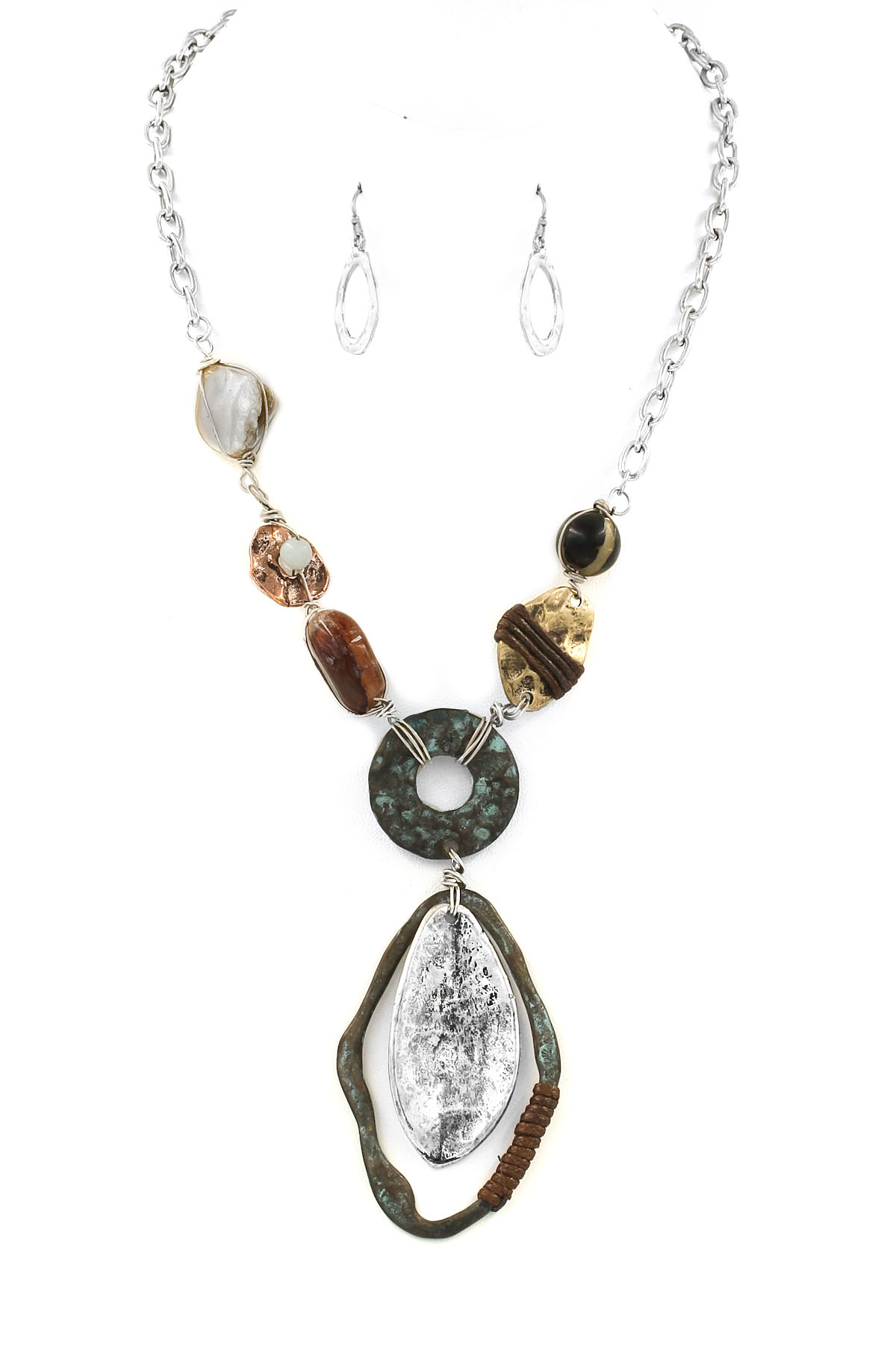 Coiled Metal Shape Necklace Set
