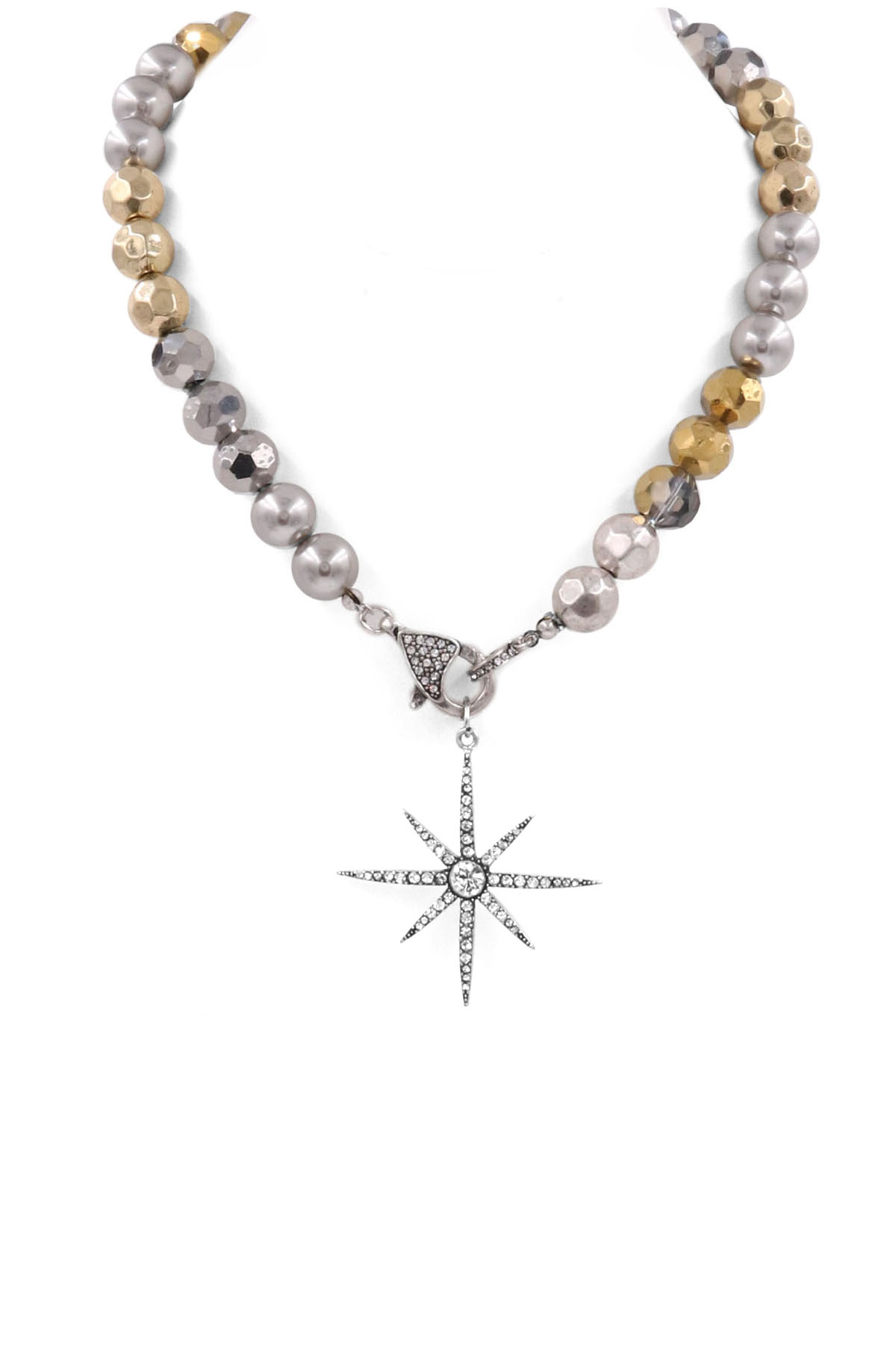 Beaded Pave Star Necklace