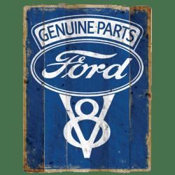 FORD GENUINE PARTS V8 LOGO VINTAGE SIGN