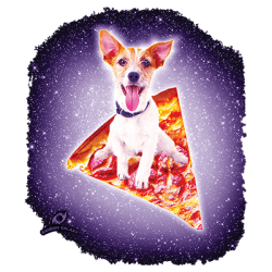 GALAXY TERRIER RIDING PIZZA