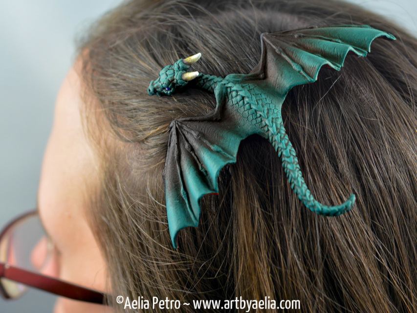 Baby Dragon Barrette Black And Teal Dragon Pre Order