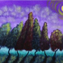 "Hugging Trees 20"" x 16"" Acrylic on Stretched Canvas"