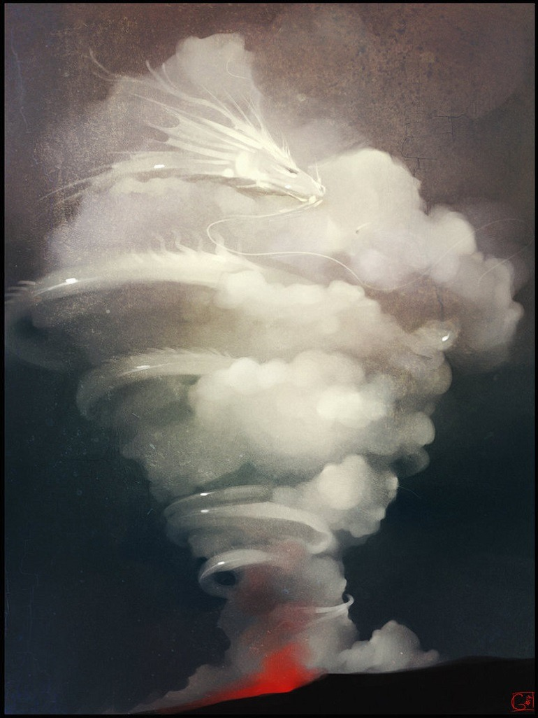 Image: Alexandra Khitrova, Volcano dragon by Gaudibuendia is the illustration of a dragon emerging from a white turbulent spewing volcano aches.