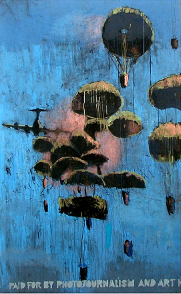Hamdi Attia, Just in Blue 2010, oil on panel 120 x 200 cm. Image courtesy of Al Masar Gallery