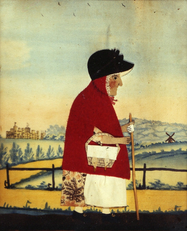 Images- Goose Woman c 1840 by George Smart is a painting of a woman dressed like Red Riding Hood.