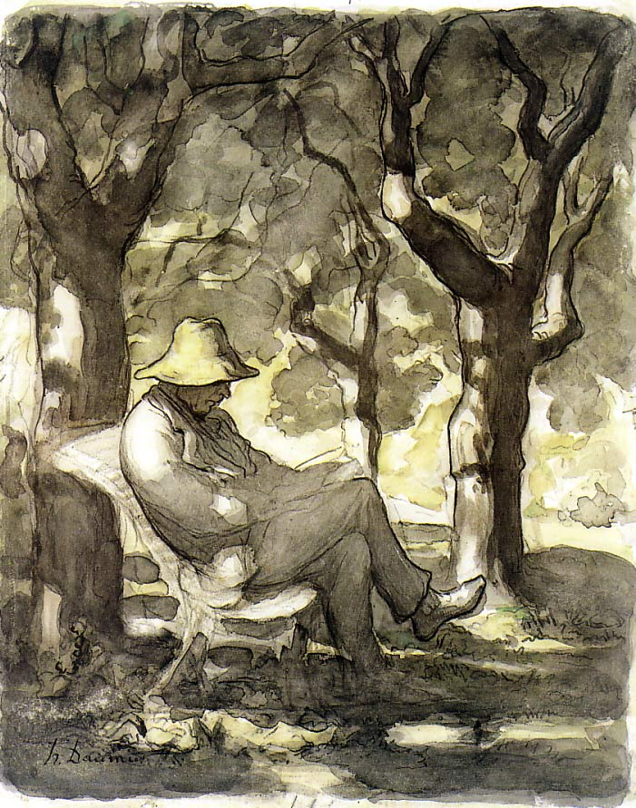 Man reading in a Garden by Daumier, 1868