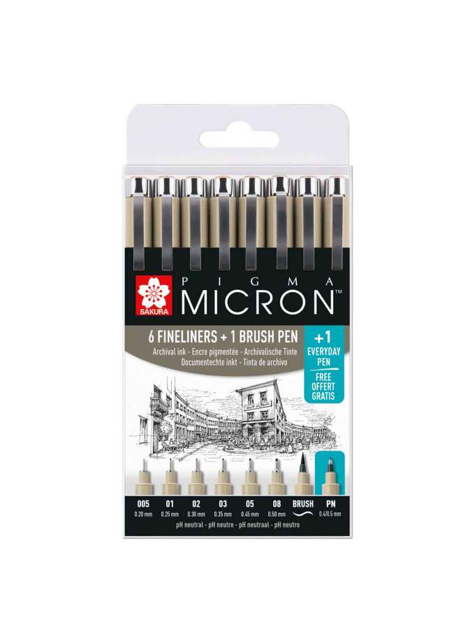 40-POXSDK8S-set-6+1+1-pigma-micron-fineliners-Sakura-Art&Colour