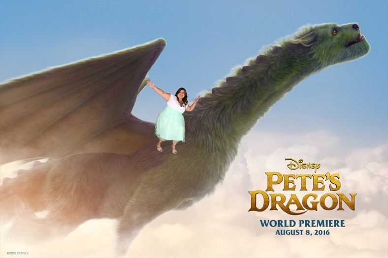 Flying on Pete's Dragon Elliot at the Pete's Dragon Red Carpet Premier!