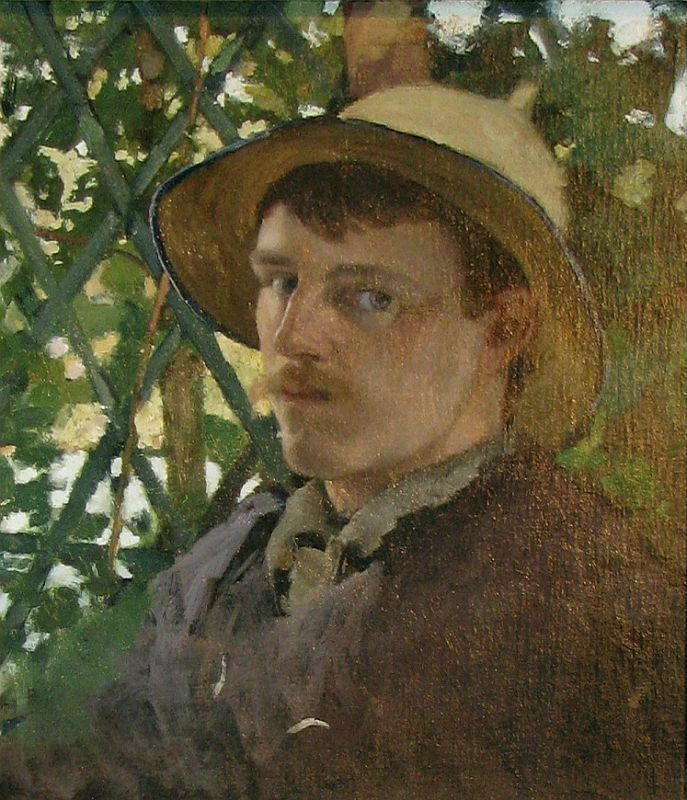 Self-portrait by the America painter and RLS's friend, Will Hicok Low (1853-1932), 1875, when they first met in France [www.artcyclopedia.org]